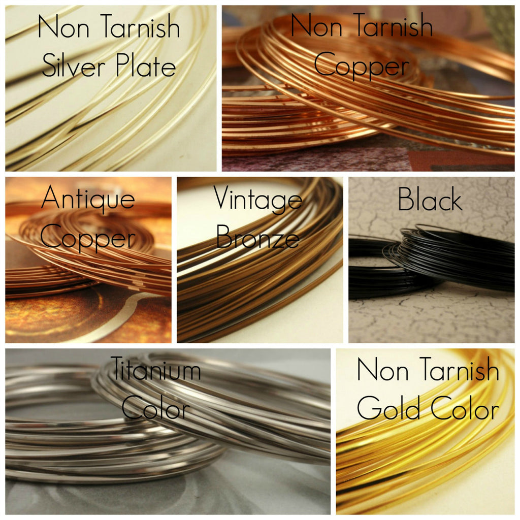 18 gauge HALF ROUND Wire - Non Tarnish - 100% Guarantee - Silver Plate, Copper, Gold Color, Antique Copper, Titanium Color, Black