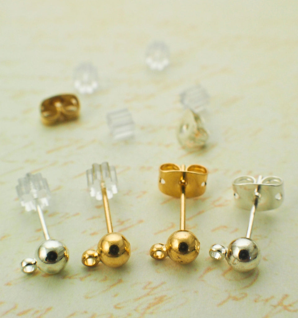 4 Pairs 4mm Ball Ear Posts with Loops - Ear Backs Included - Silver or Gold Plated - 100% Guarantee