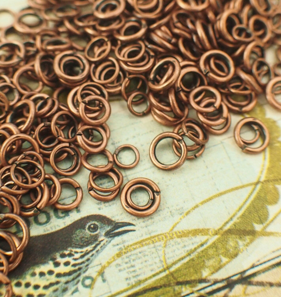100 Antique Copper Jump Rings - Vintage Look - 22, 20, 18 Gauge - Best Commercially Made - 100 % Guarantee