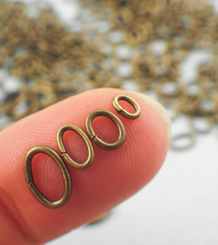 100 Antique Gold OVAL Jump Rings - Best Commercially Made - 6 Sizes in 16, 18 and 20 gauge - 100% Guarantee