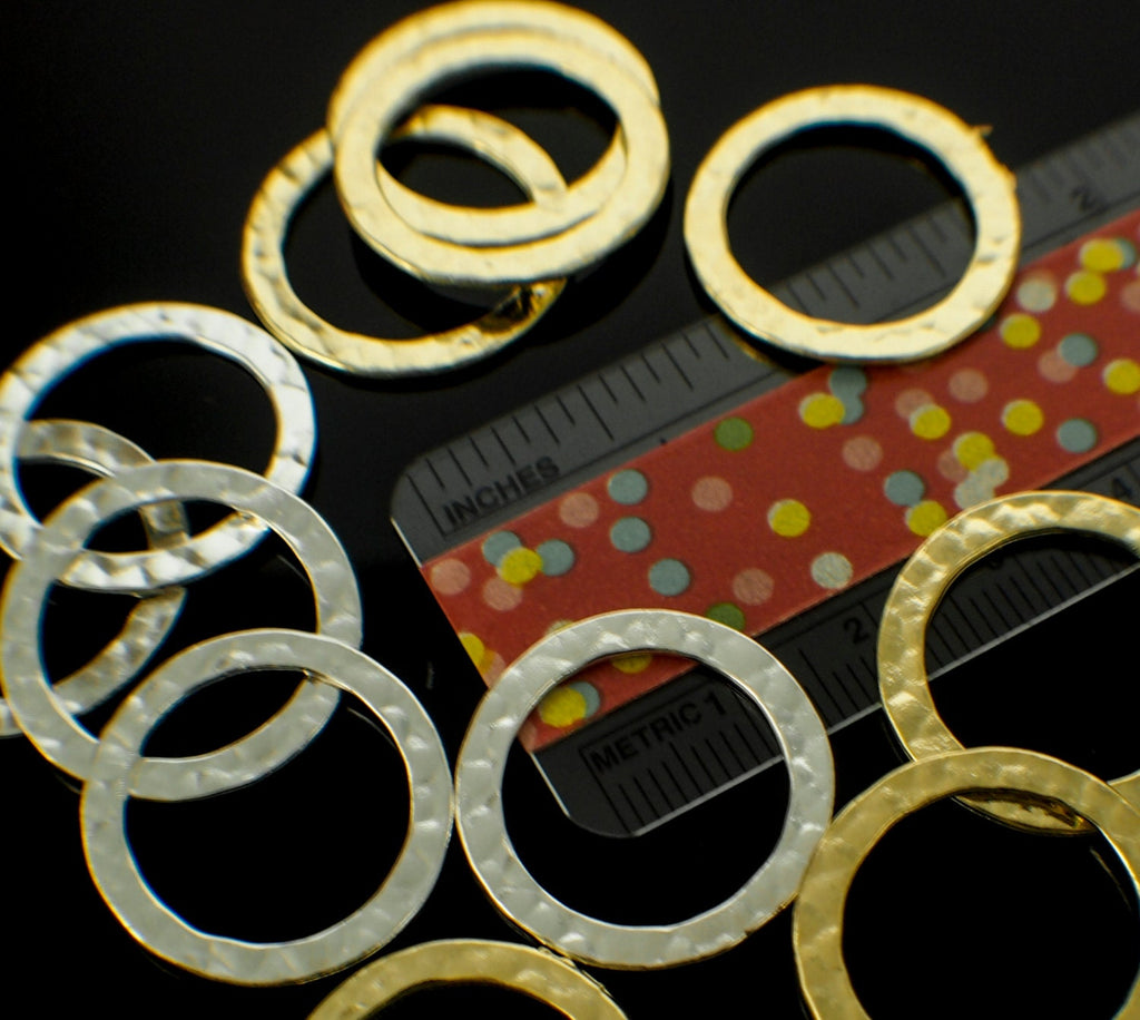 6 Premium Hammered Round Components - 27mm - Gold, Silver or Antique Silver Plated - 100% Guarantee