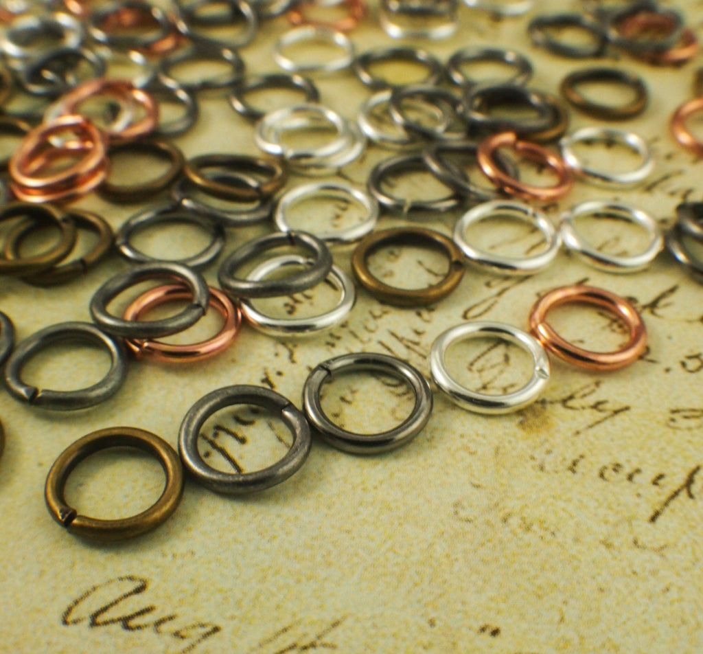 100 Jump Rings 16 gauge 8mm OD - Best Commercially Made - Silver Plate, Antique Silver, Gold Plate, Antique Gold, Gunmetal, Copper