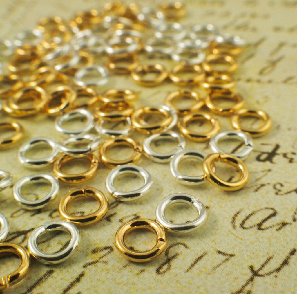 100 - 18 gauge 5mm OD  Jump Rings - Silver Plate, Gold Plate, Antique Silver, Antique Gold, Gunmetal,  Best Commercially Made
