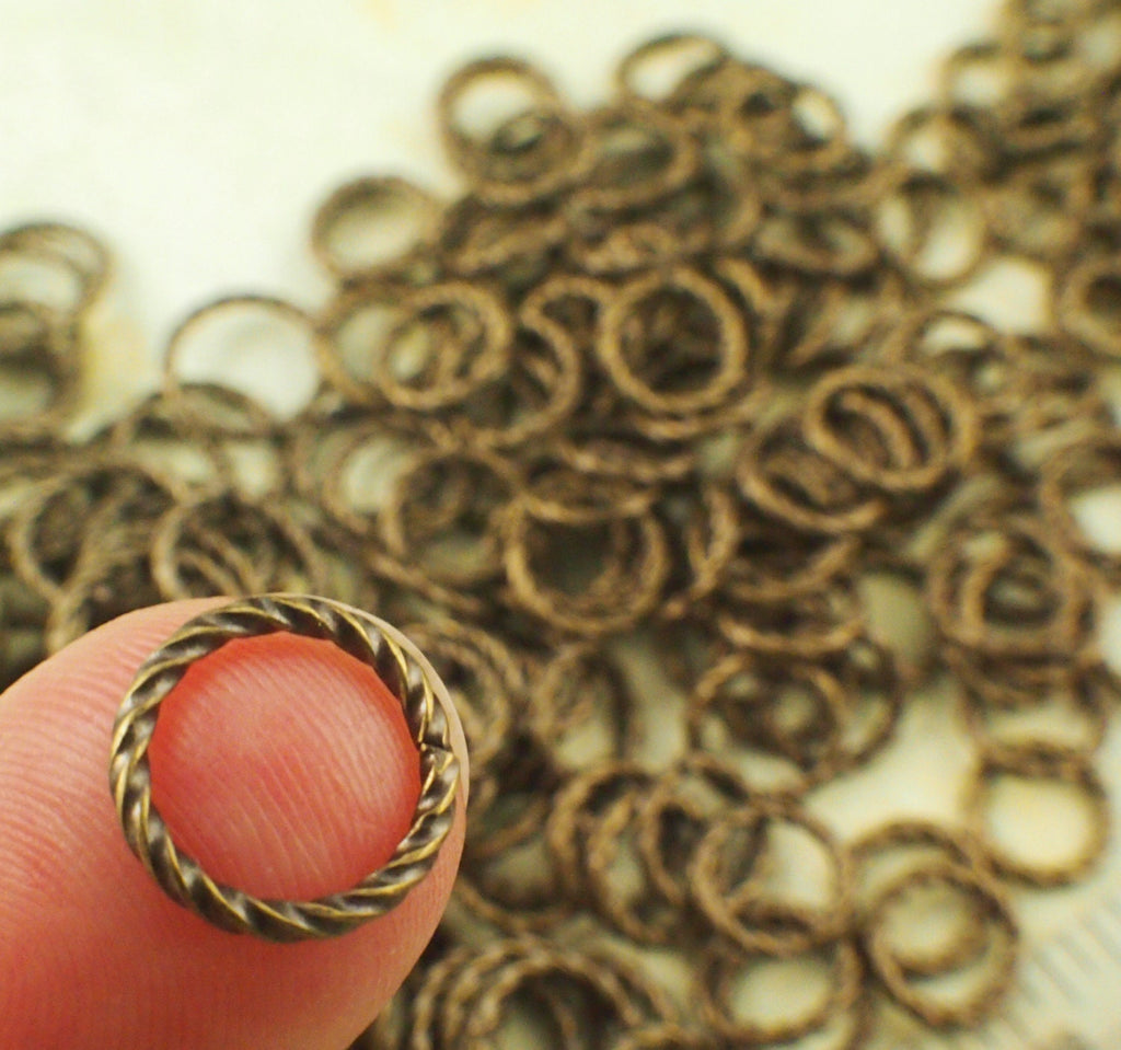 100 Fancy Antique Gold Jump Rings 16 or 20 gauge -You Pick Diameter 6mm OD, 8mm OD, 10mm OD or Mix - Best Commercially Made - 100% Guarantee