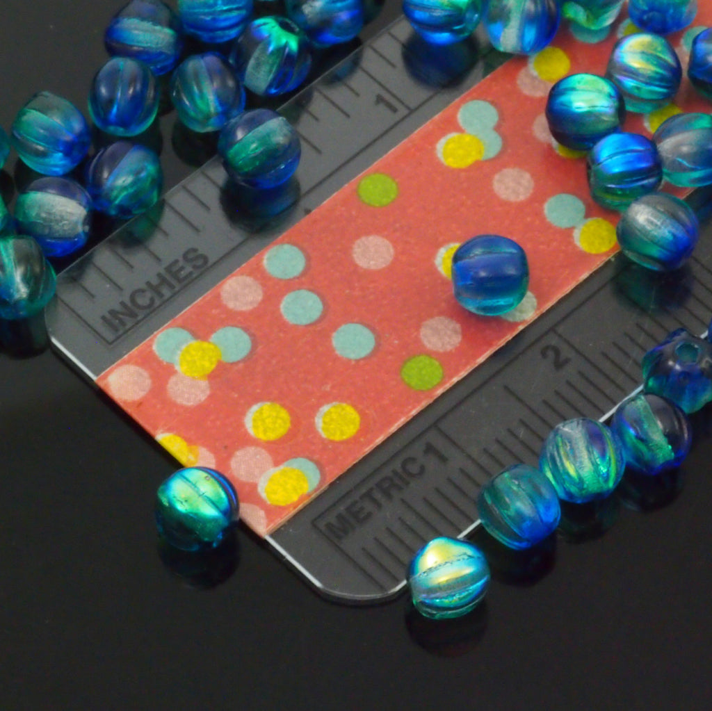 30 - 100% Guaranteed 5mm Deep Sea Blue Coated Melon Beads - Corrugated Czech Glass Rounds