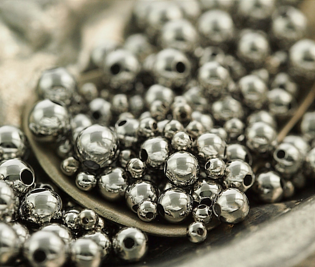 100 Bright Silver Smooth Round Beads - 2.5mm, 3mm, 4mm, 5mm, or 6mm.