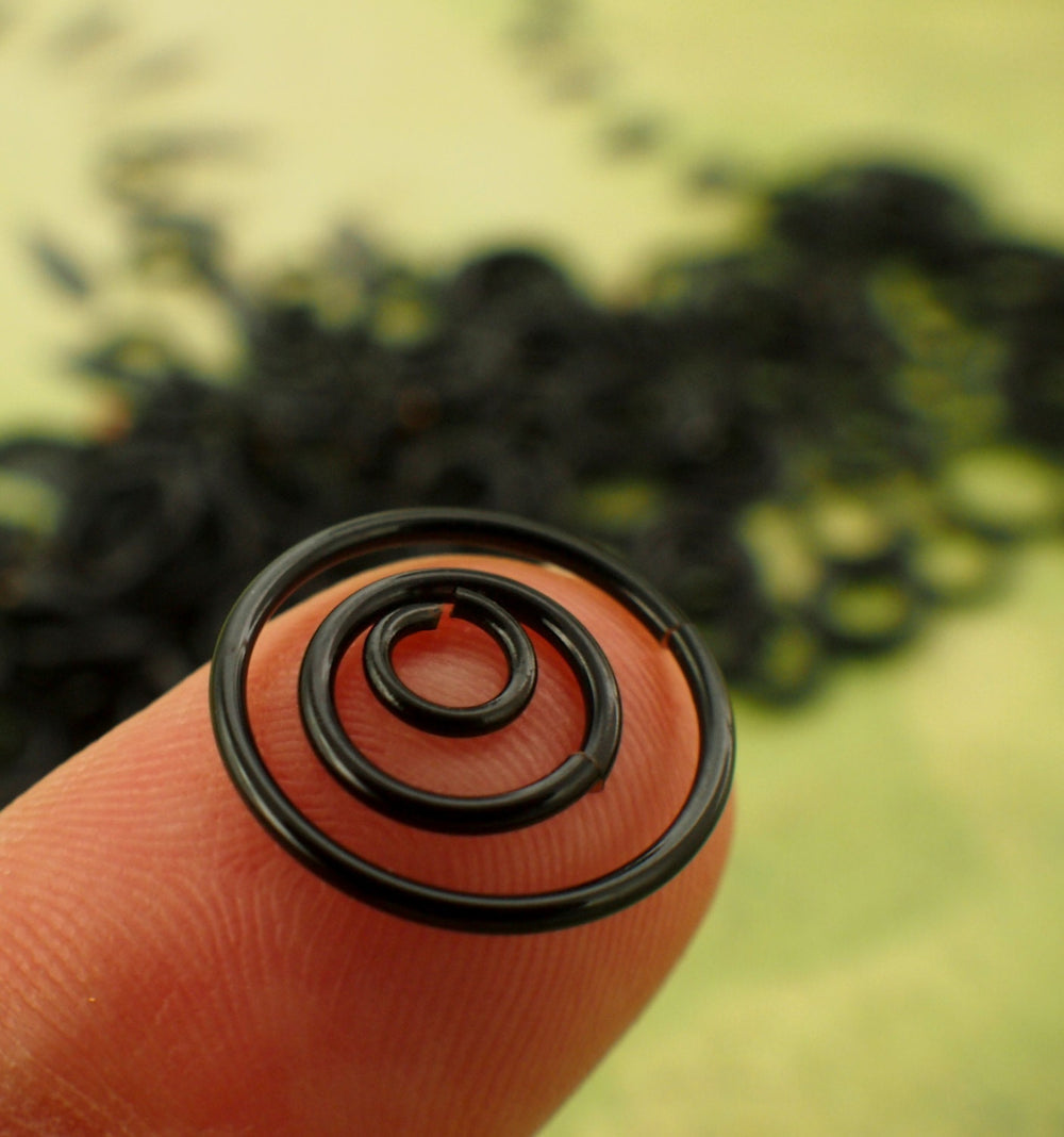 100 Black Jump Rings - Custom Handmade in 10, 12, 14, 16, 18, 20,  22  or 24 gauge - 100% Guarantee