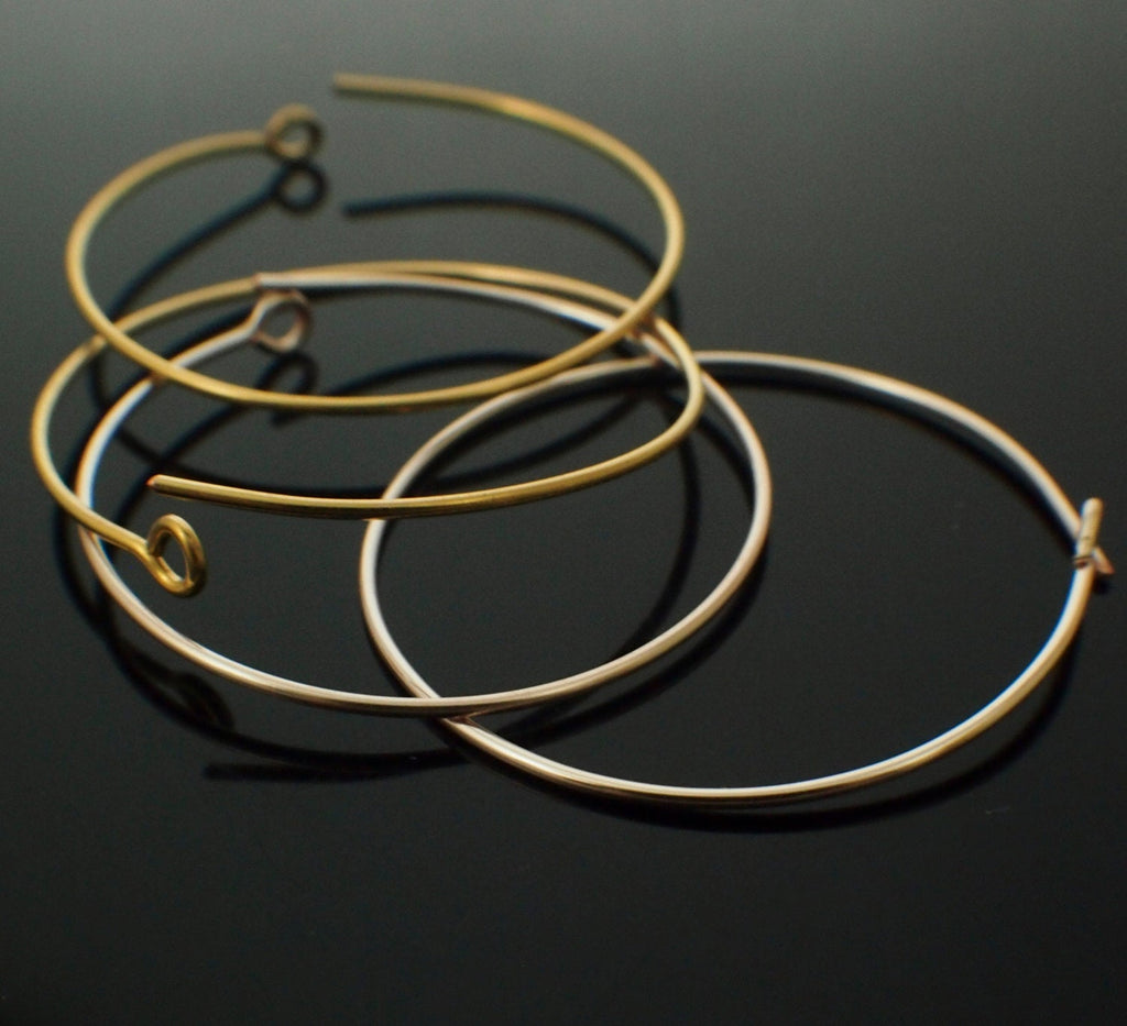 3 Pairs 14kt Gold Filled Beading Hoops Ready to Wear OR Ready for Beads - 20 gauge You Pick Diameter - 100% Guarantee