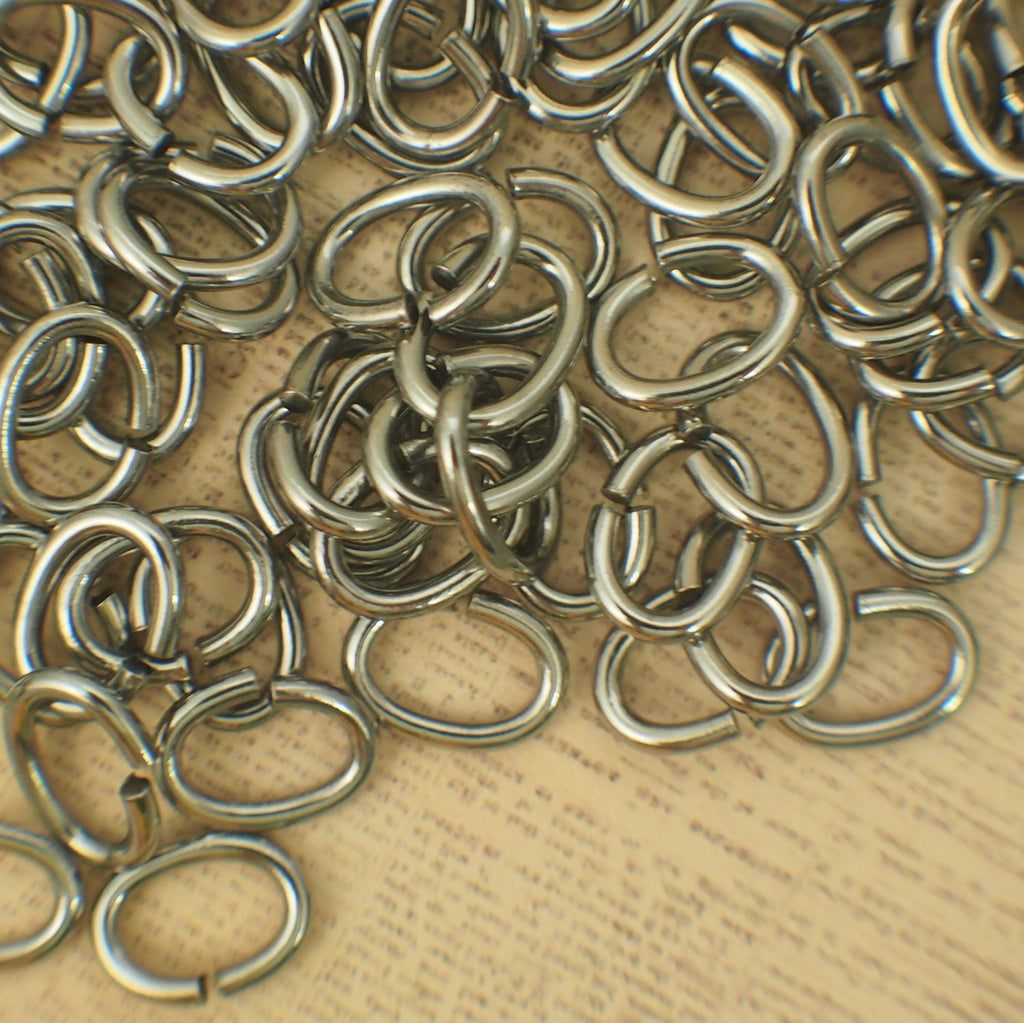 25 Stainless Steel Oval Jump Rings 14 gauge 8mm X 4mm ID - Hand Crafted Solid Metal Links - Nickel Free