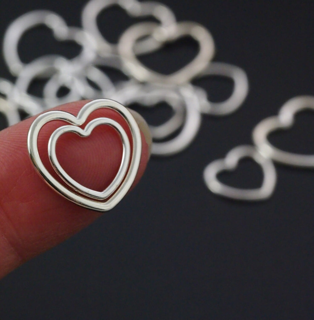Sterling Silver Heart Components - Medium or Large - 100% Guarantee in Shiny, Antique or Black