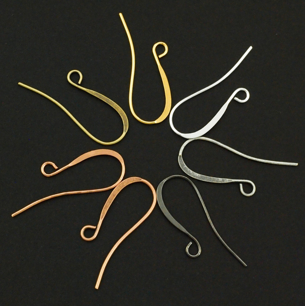 16 Pairs Slope Ear Wires  - You Pick Finish Rose Gold, Silver, Gold, Antique Silver, Antique Gold, Copper, Antique Copper or Gunmetal