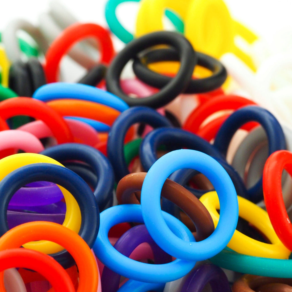 50 - 15mm OD Silicone Jump Rings - You Pick Color - Black, White, Brown, Pink, Purple, Blue, Green, Yellow, Orange, Red or Rainbow Mix