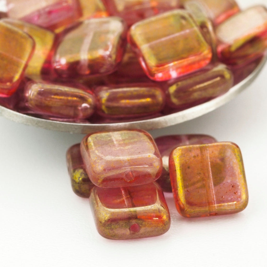 10 - 9mm Glow in the Dark Square Luster Transparent Topaz Pink Beads - Czech Pressed Glass - 100% Guarantee