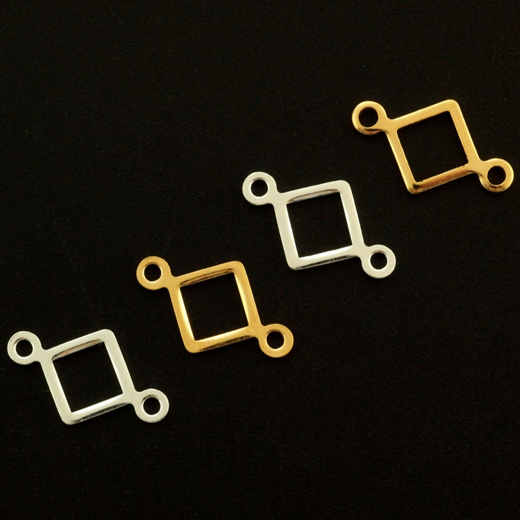10 Square Links - 19mm - Silver Plated or Gold Plated - 100% Guarantee