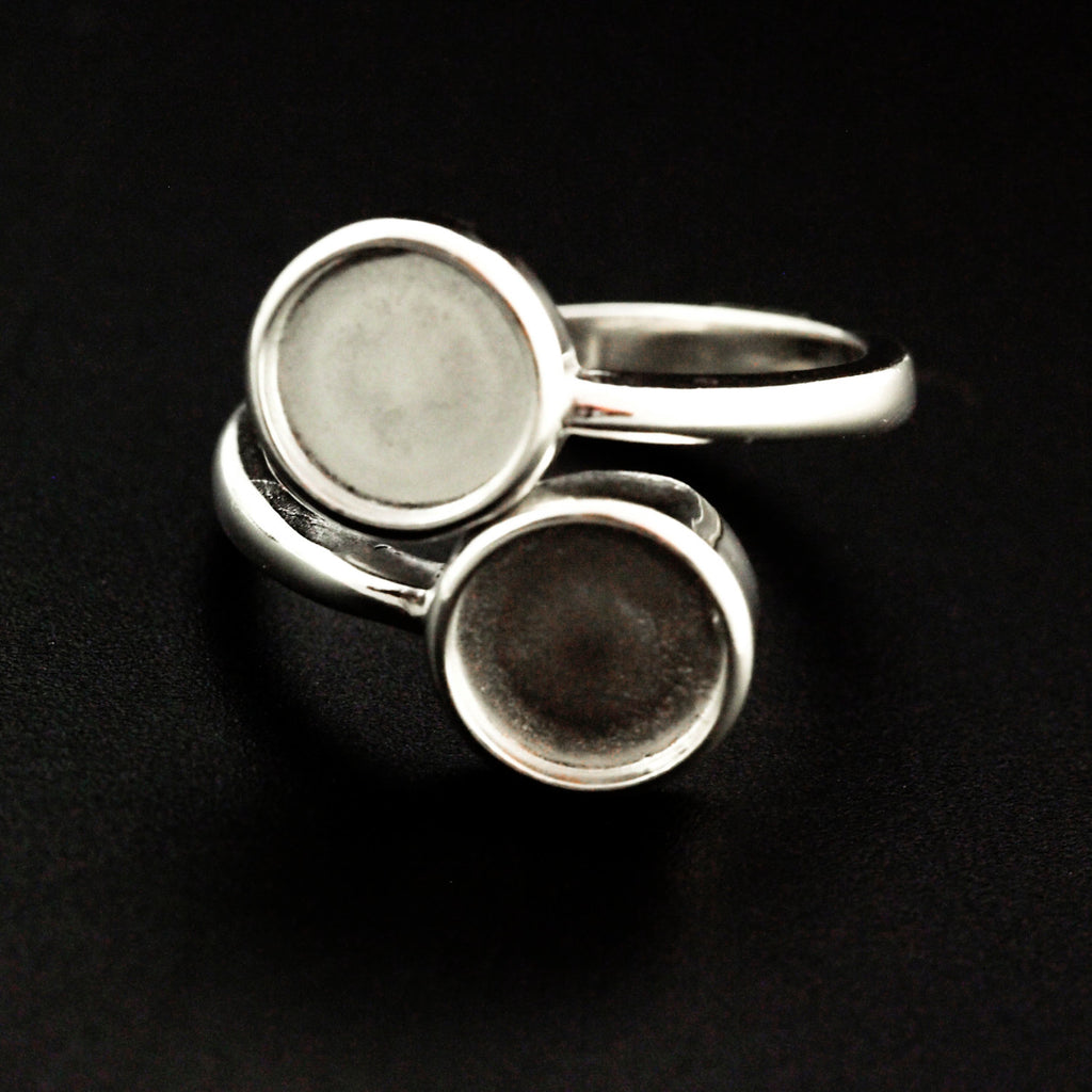 1 Sterling Silver Double Round Bypass Ring with 2 -  8mm Cabochon Mountings