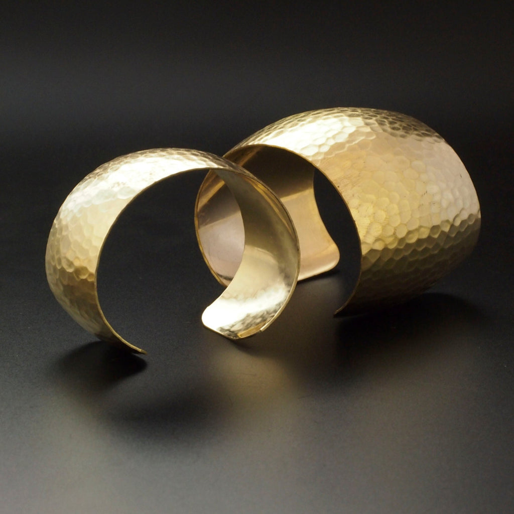 Domed and Hammered Bangle Cuff Bases in Rich Low Brass - 3 Sizes to Choose From 18.75mm - 50mm