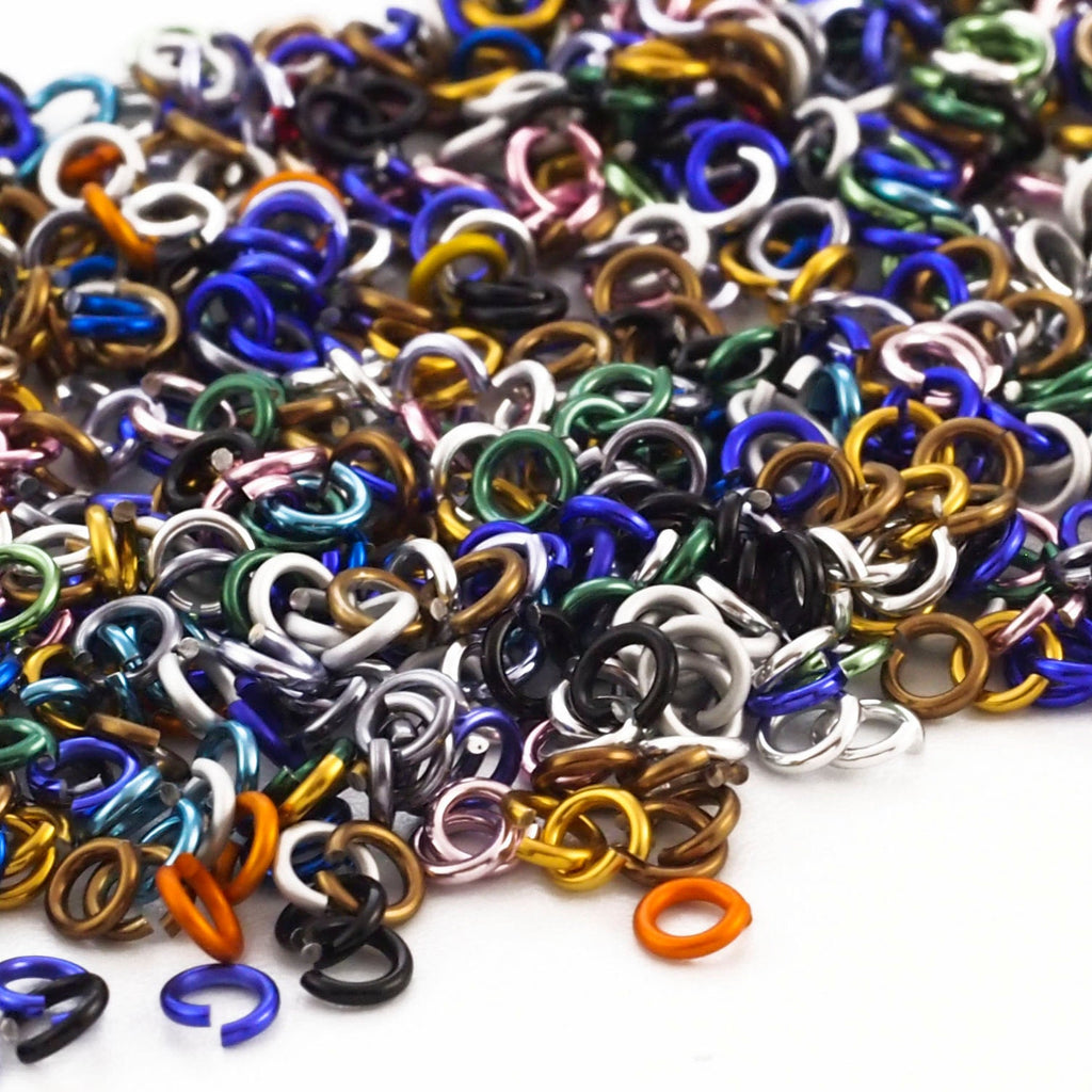 100 - 20 gauge Color Mix Anodized Aluminum Jump Rings ID - 3.1mm ID - 4.7mm OD - 7/64""