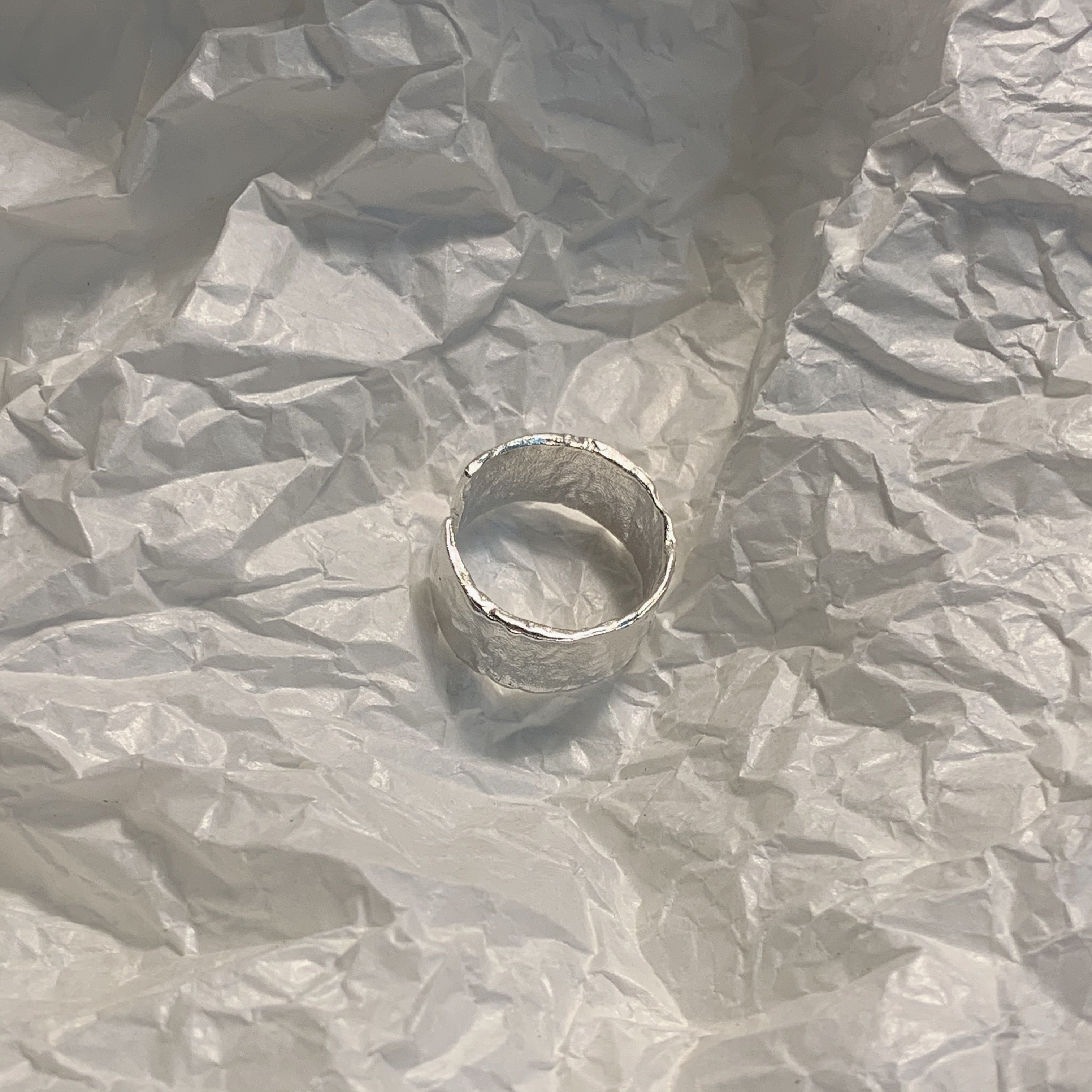 Tin foil wrinkled metal texture ring
