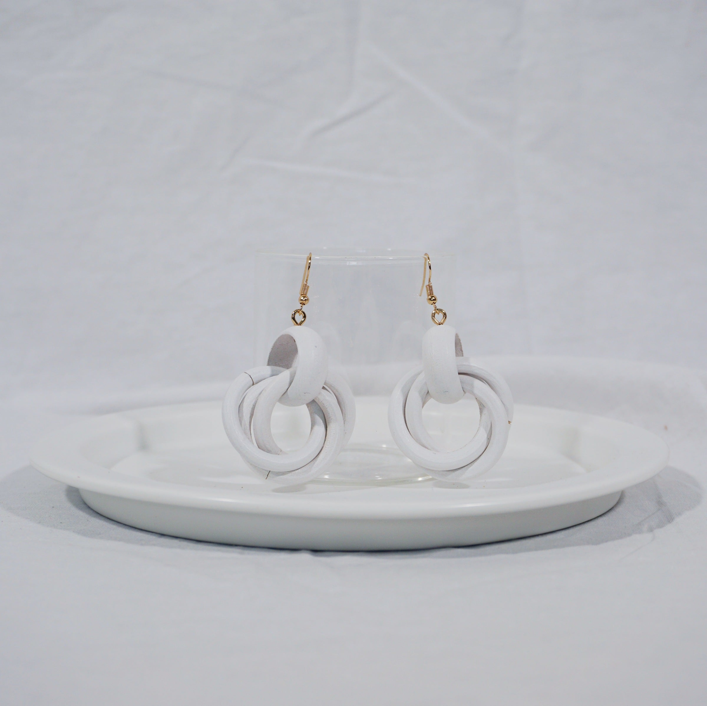 Wrap wood earrings in white
