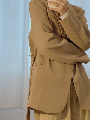 Long sleeve mid-length blazer in khaki