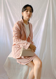 Retro small suit jacket + hip skirt suit in pink