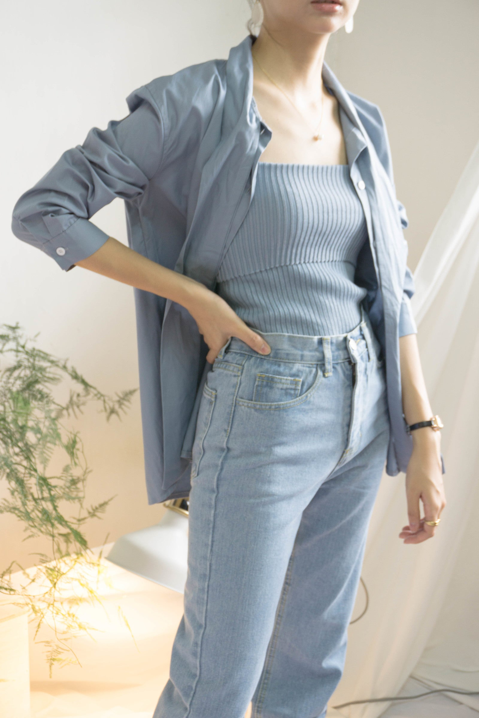 Vintage unique tie shirt in baby blue