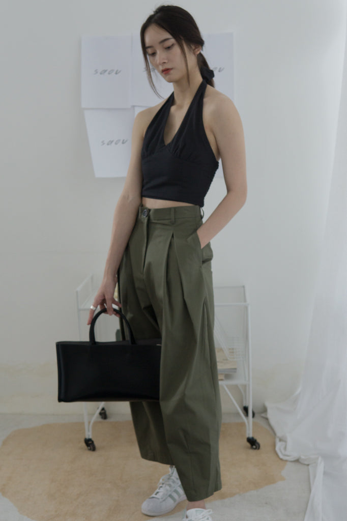 High-waisted, wide-legged nine-point pants in dark green