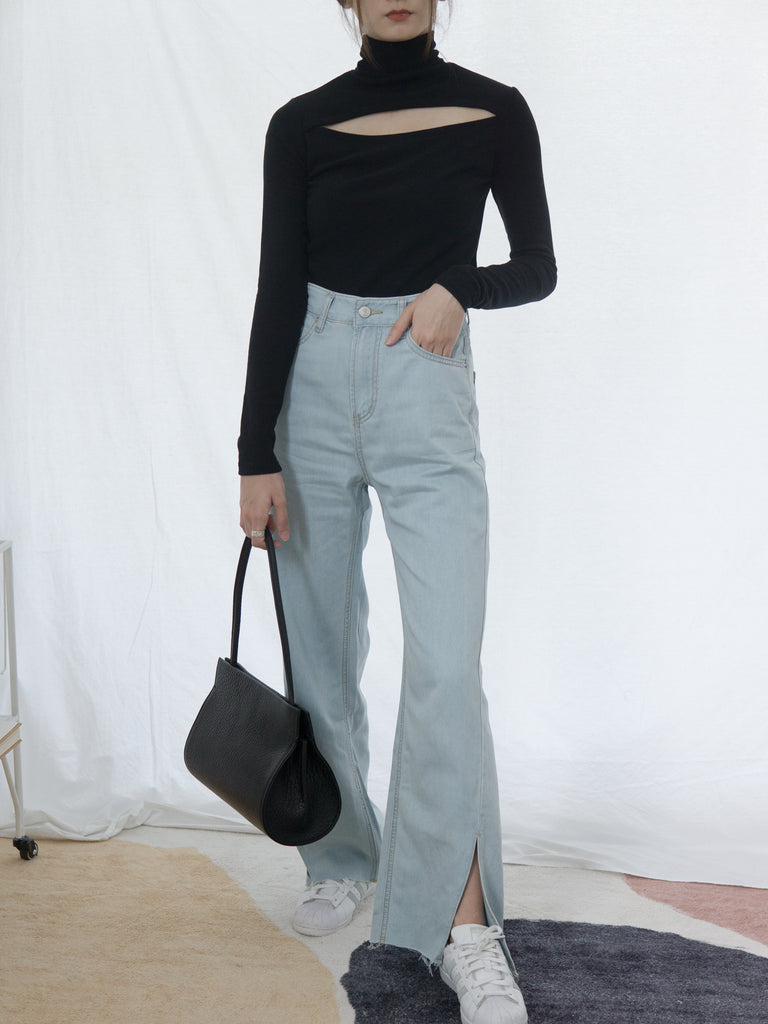 Denim trousers with slits