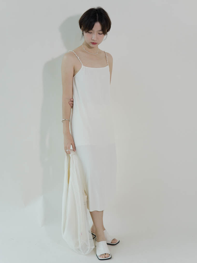Knotted wild slim sleeveless dress in almond white