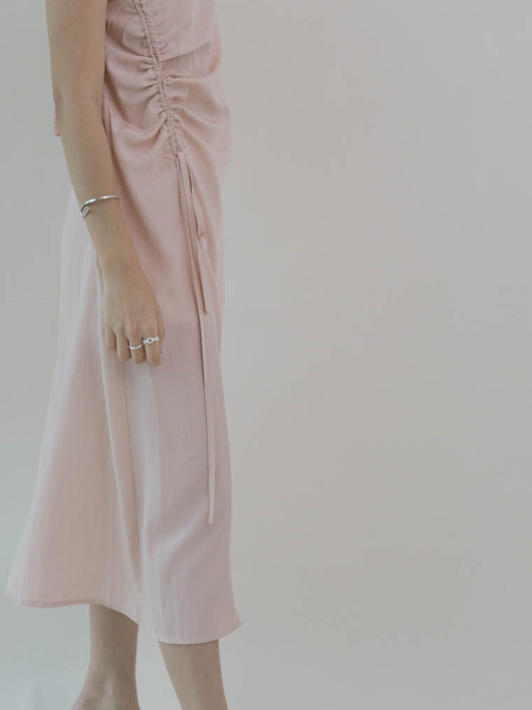 French waist drawstring dress in nude pink