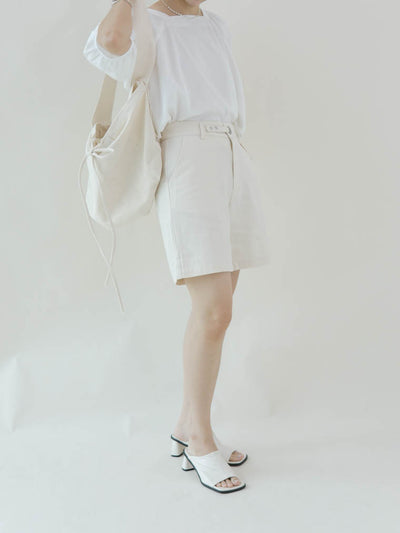 Loose A-line wide-leg shorts in almond color
