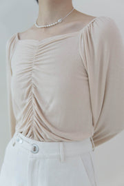 V-neck T shirt in nude pink