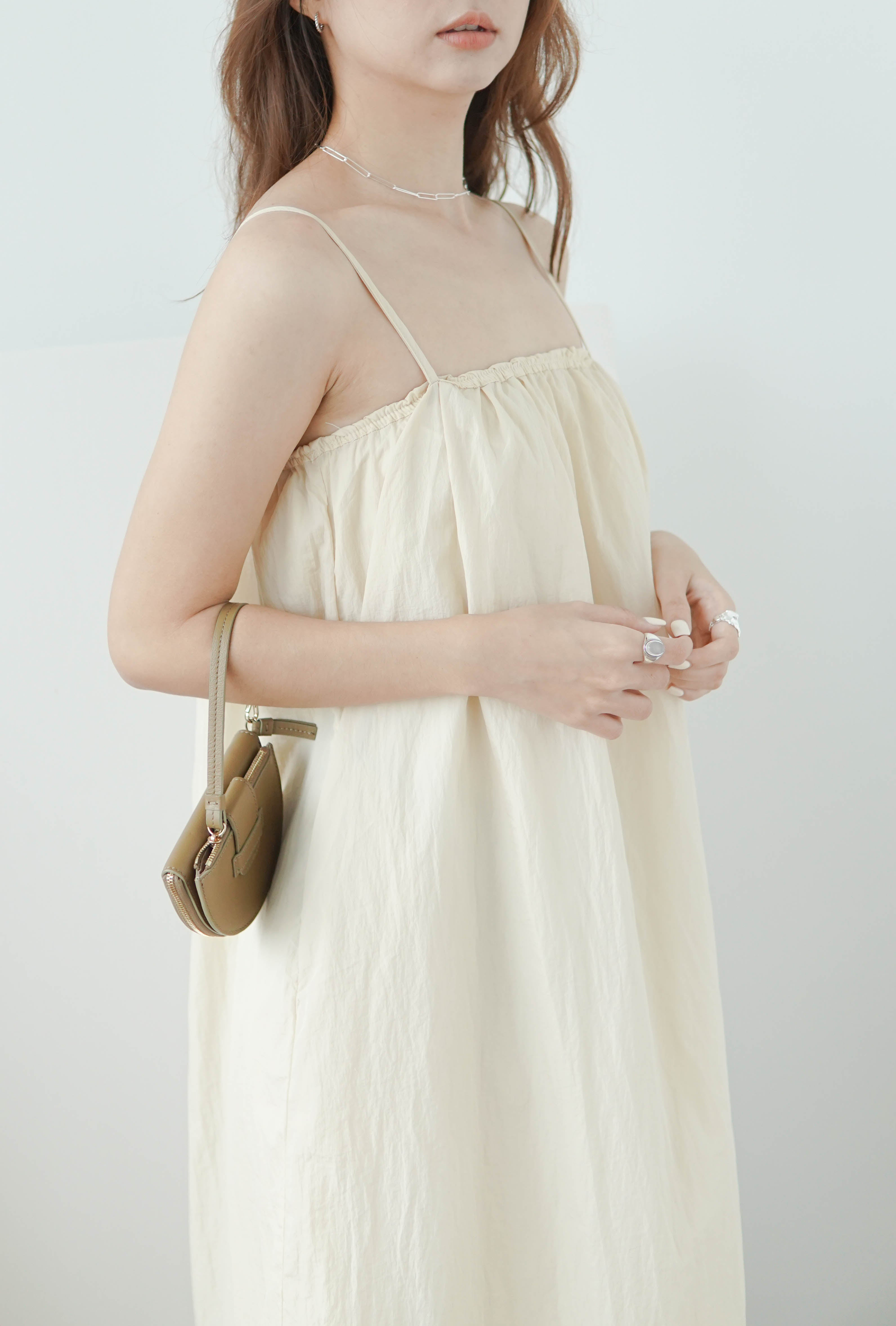 High waist mid-length camisole dress in almond color