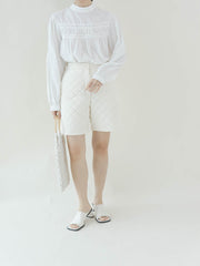 High waist argyle white shorts