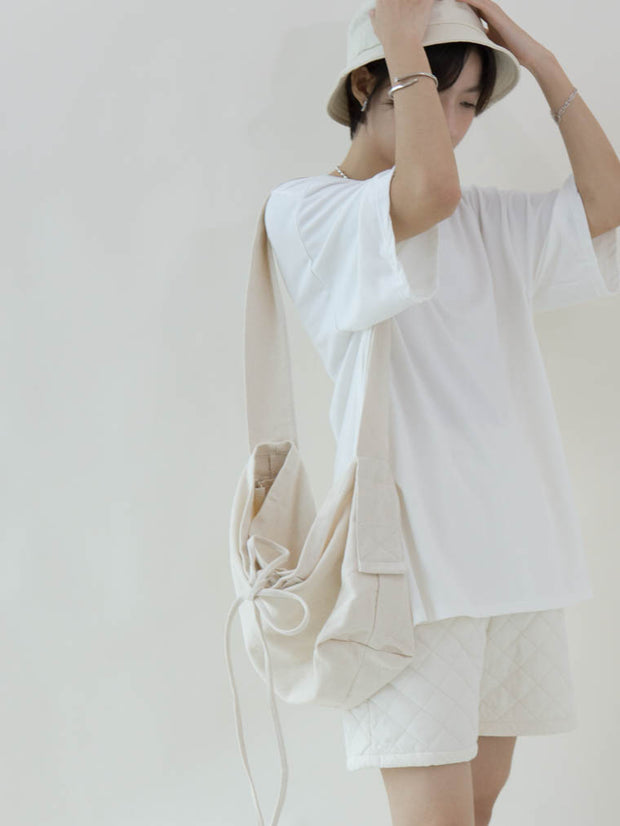 Lace canvas bag cream white