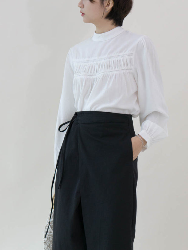 Stand-up collar puff sleeve shirt in white