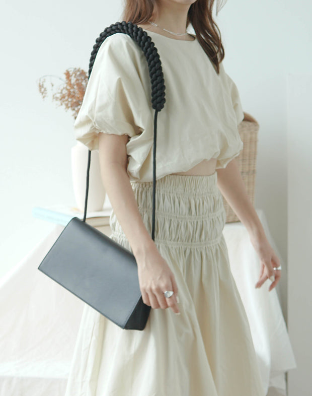 Loose waist short sleeve shirt + high waist pleated big swing skirt in almond