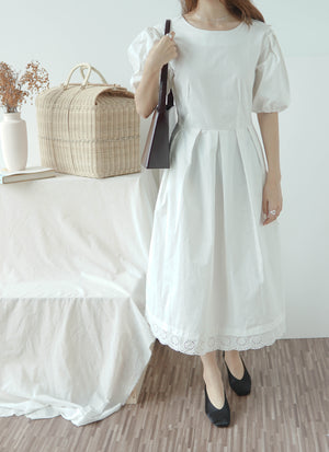 U-neck halter mid-length waist short sleeve dress in cream white