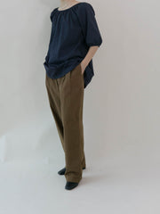 Loose straight-leg casual wide-leg pants coffee color