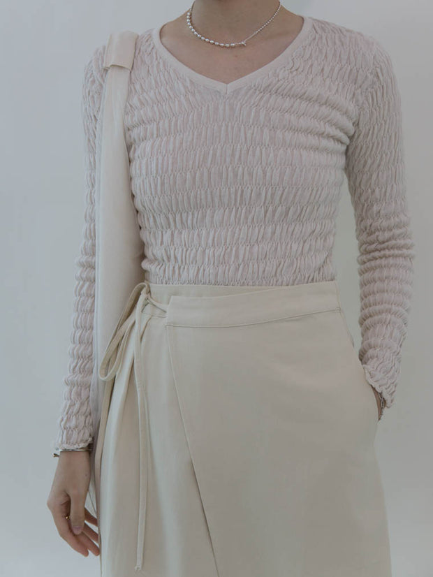 Slim T-shirt with pleated top