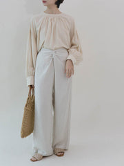 Knotted wide-leg pants