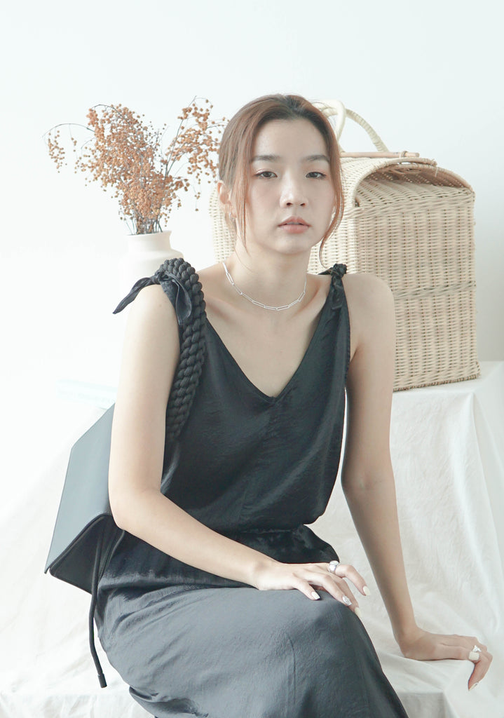 V-neck solid color pleated fabric camisole top in classic black