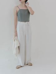 High waist drape wide-leg pants straight-leg pants