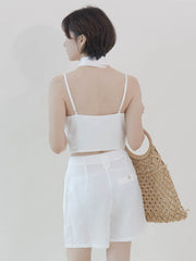 Two-piece suspender shorts in cream white