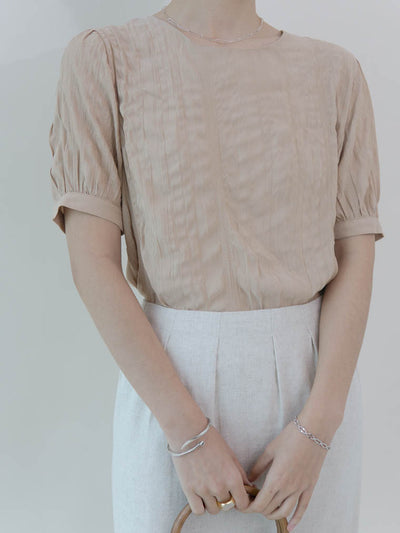 Small pleated T-shirt puff sleeve top