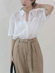 Tencel shirt short sleeve loose shirt in cream white