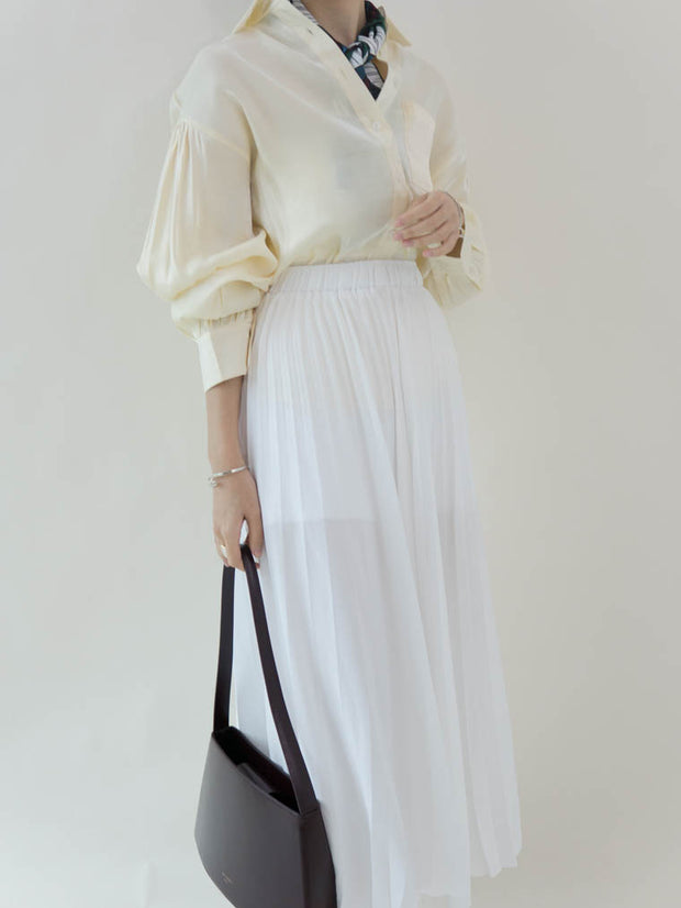 High waist long pleated skirt