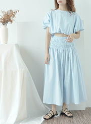 Loose waist short sleeve shirt + high waist pleated big swing skirt in baby blue