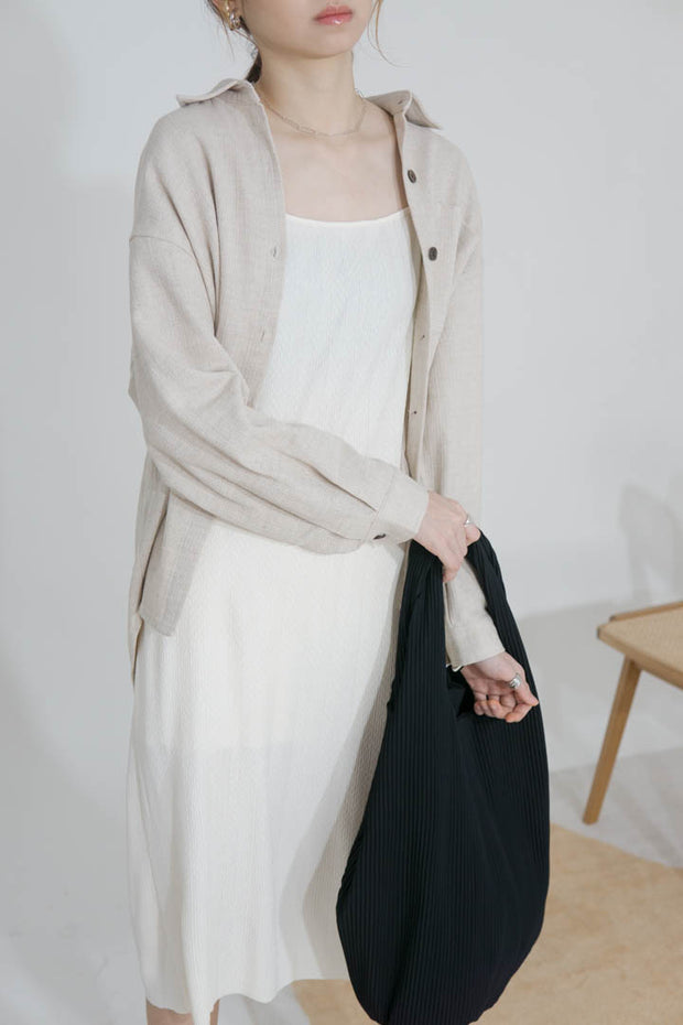 Cotton and linen loose shirt
