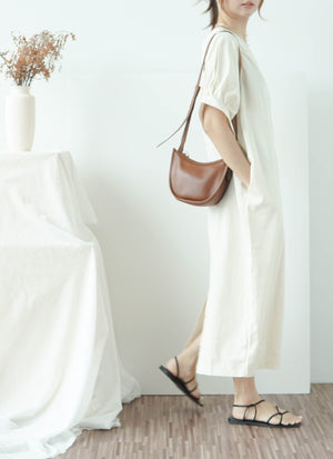 Loose back split long short sleeve dress in almond